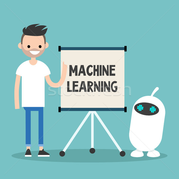 Machine learning conceptual illustration. Young character teachi Stock photo © nadia_snopek