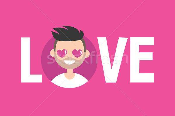 Valentijnsdag liefde teken cute cartoon jongen Stockfoto © nadia_snopek