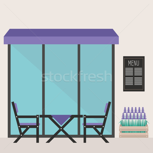 Trendy hipster restaurant terrace. table and chairs under the aw Stock photo © nadia_snopek