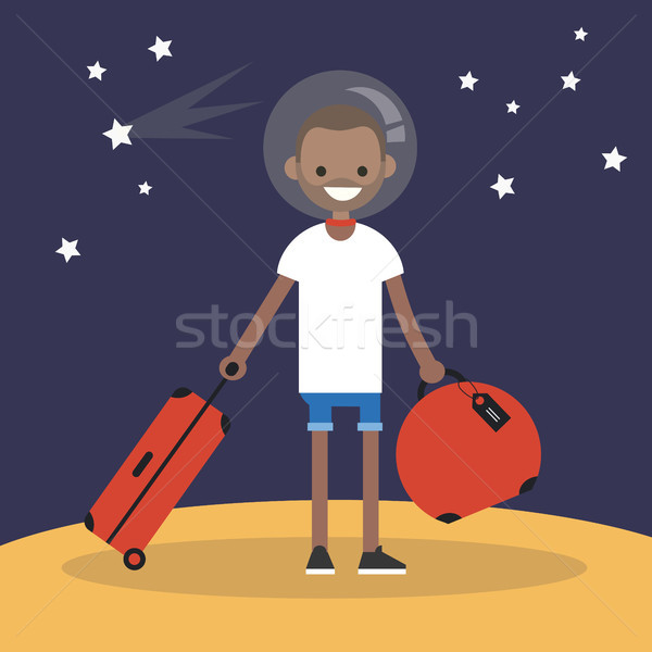 Mars Colonization: Young black character moving to mars with his Stock photo © nadia_snopek