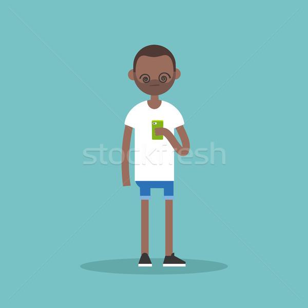 иллюстрация молодые черным человеком Smart экране Сток-фото © nadia_snopek
