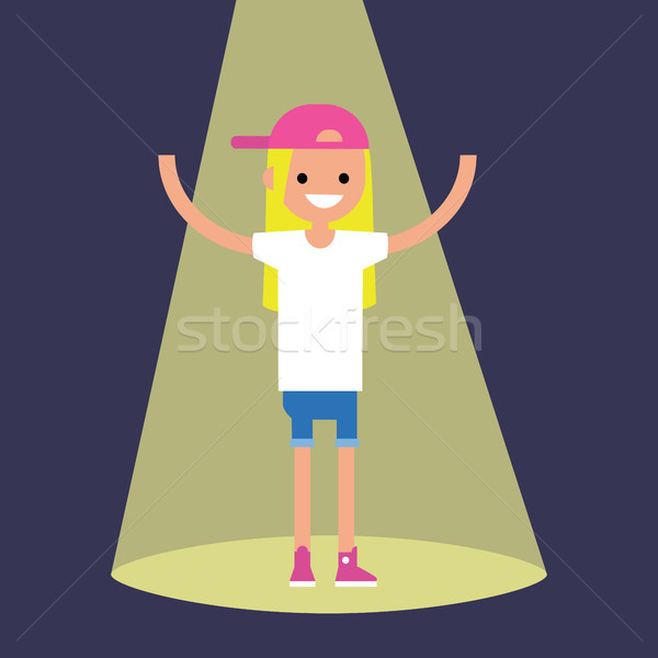 Young successful blond girl standing in the spotlight / flat edi Stock photo © nadia_snopek