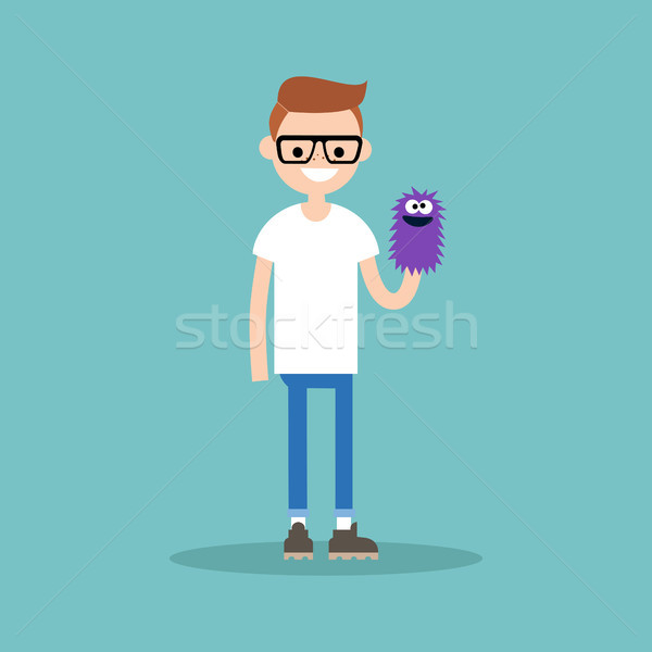 Young character playing with a hand puppet / flat editable vecto Stock photo © nadia_snopek