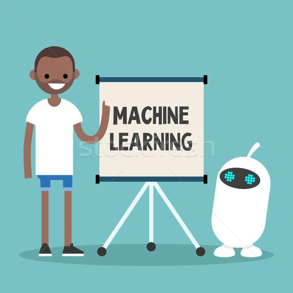 ストックフォト: マシン · 学習 · 実例 · 小さな · 黒 · 文字
