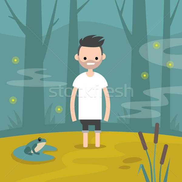 Stock photo: Young character stuck in the swamp / flat editable vector illust