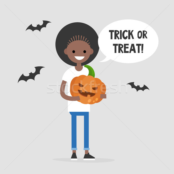 Trick or treat, Halloween illustration. Young black girl holding Stock photo © nadia_snopek