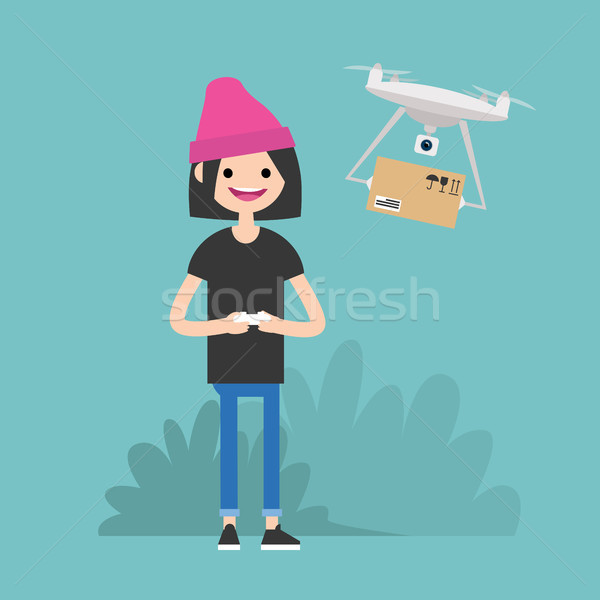 Drone delivery service. Young female character controlling a dro Stock photo © nadia_snopek
