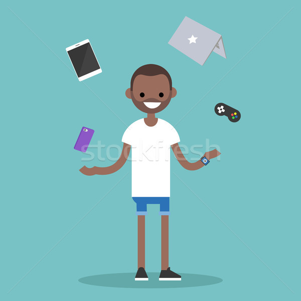 Young black man juggling electronic devices / editable flat vect Stock photo © nadia_snopek