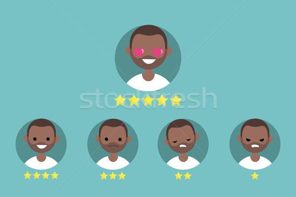 Star rating system. Set of emotional portraits / flat editable v Stock photo © nadia_snopek