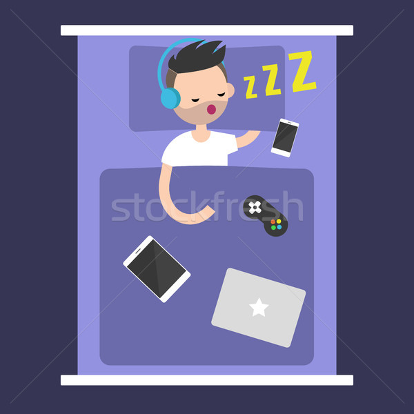 New Technologies Addiction. young bearded man sleeping with all  Stock photo © nadia_snopek