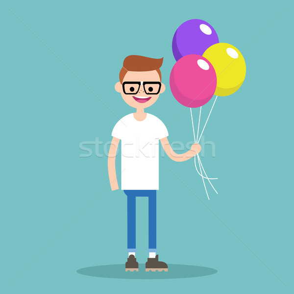 Young nerd holding a bunch of colourful balloons // editable fla Stock photo © nadia_snopek