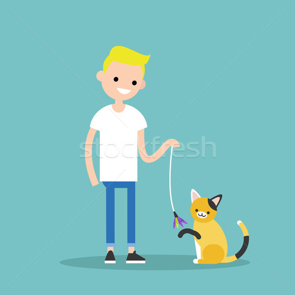 Young character playing with a cat / flat editable vector illust Stock photo © nadia_snopek