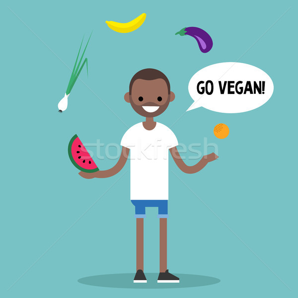 Modern lifestyle. Go vegan. Young black man juggling fruits and  Stock photo © nadia_snopek