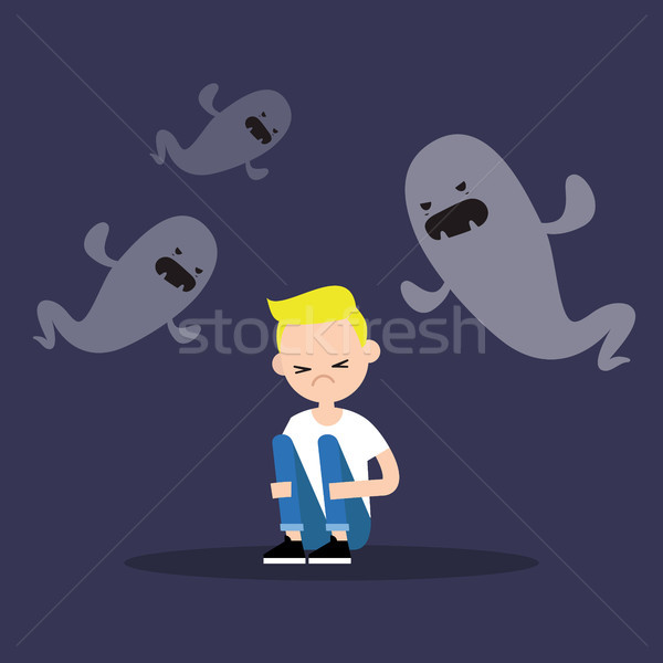 Scared blond boy surrounded by ghosts / flat editable illustrati Stock photo © nadia_snopek