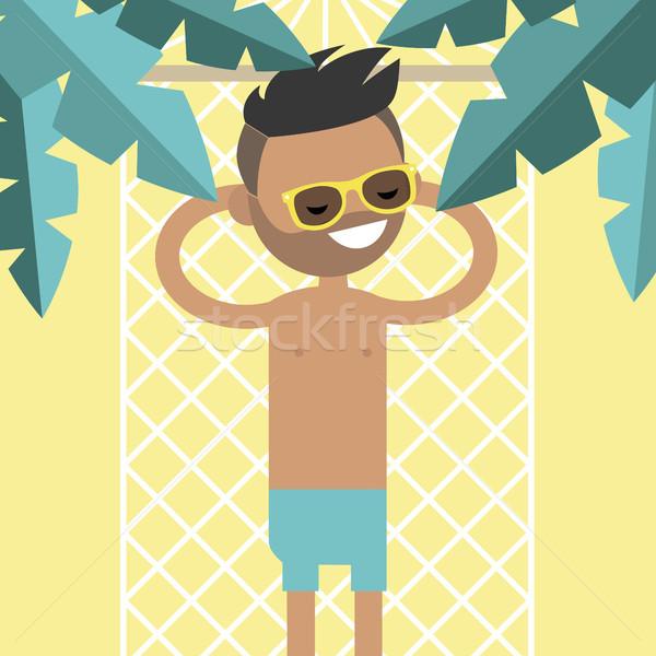 молодые мужчины характер гамак пальмами Top Сток-фото © nadia_snopek