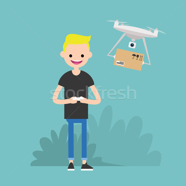 Drone delivery service. Young character controlling a drone with Stock photo © nadia_snopek