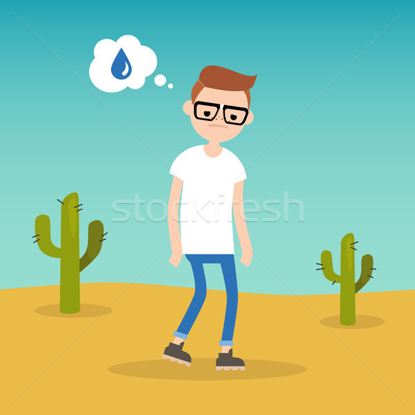 Thirsty boy dreaming about water / flat editable vector illustra Stock photo © nadia_snopek