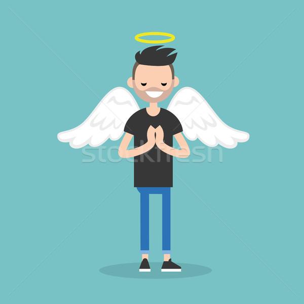 Jonge karakter engel kostuum vleugels Stockfoto © nadia_snopek