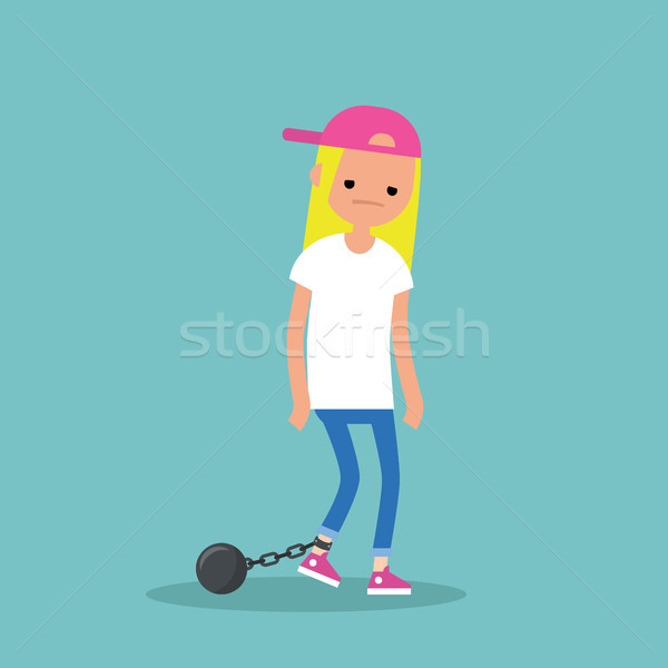 Young exhausted blonde girl wearing shackles. Sad tired characte Stock photo © nadia_snopek