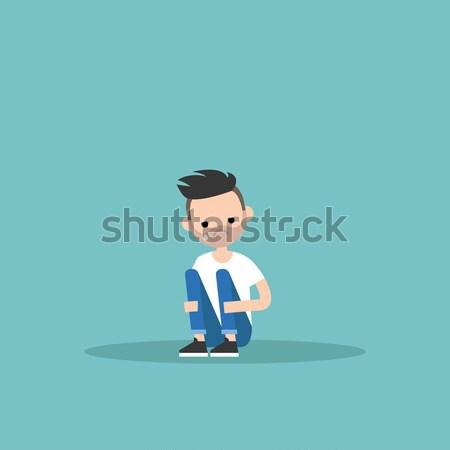 Upset crying black guy sitting and hugging his knees / editable  Stock photo © nadia_snopek