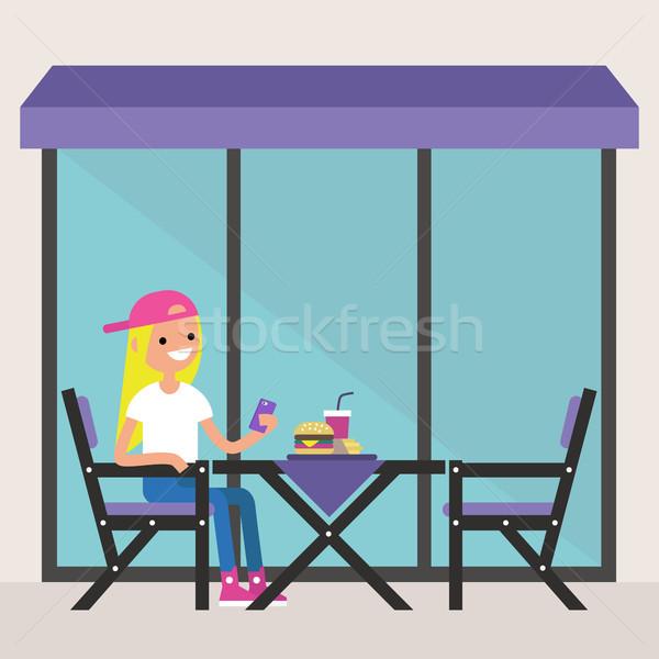 Genç kız oturma restoran teras Stok fotoğraf © nadia_snopek