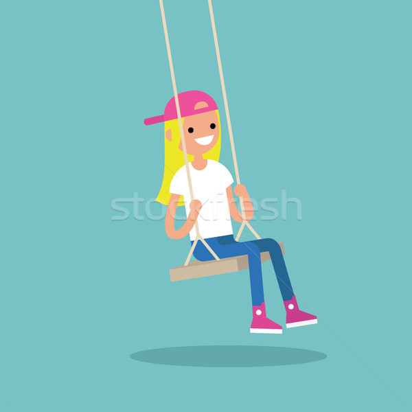 Young blond girl sitting on the swing / editable flat vector ill Stock photo © nadia_snopek