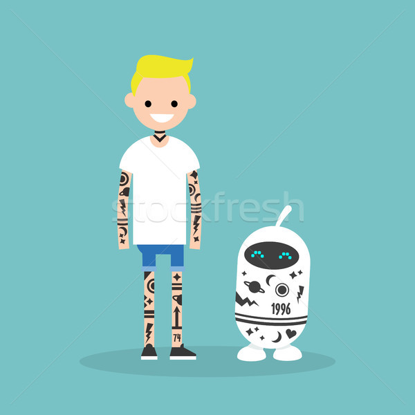 Tatuaje subcultura humanos robot cubierto tatuajes Foto stock © nadia_snopek