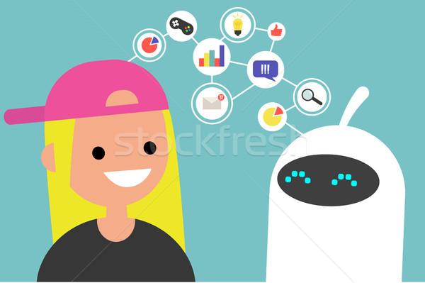 Gegevens overdragen illustratie menselijke robot communicatie Stockfoto © nadia_snopek