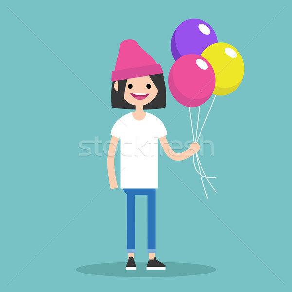 Young brunette girl holding a bunch of colourful balloons // edi Stock photo © nadia_snopek