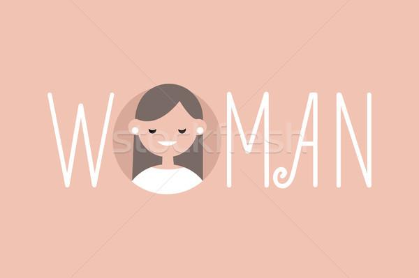 Foto stock: Feminino · ilustrado · assinar · mulher · vetor