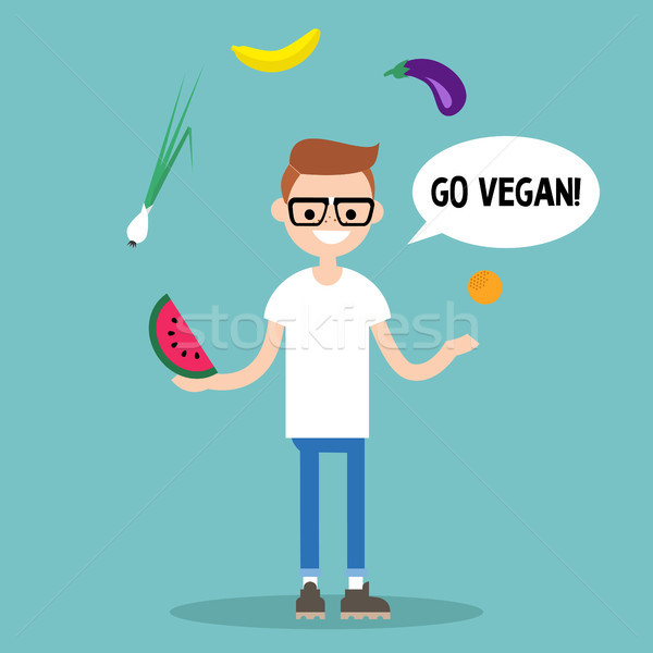 Modern lifestyle. Go vegan. Young nerd juggling fruits and veget Stock photo © nadia_snopek