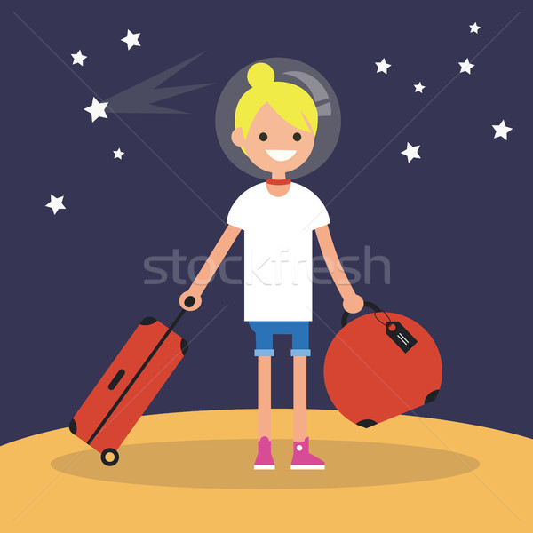 Mars Colonization: Young teenage girl moving to mars with her lu Stock photo © nadia_snopek