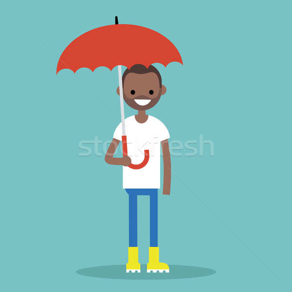 Young black character with umbrella wearing yellow rubber boots  Stock photo © nadia_snopek