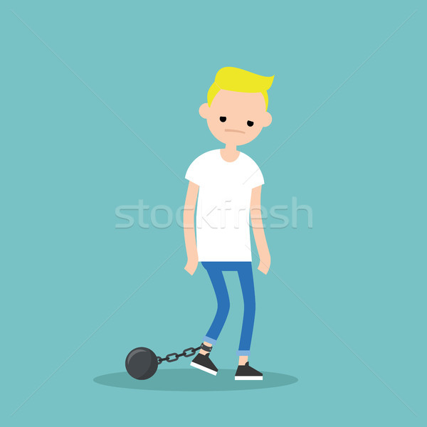 Young exhausted blonde boy wearing shackles. Sad tired character Stock photo © nadia_snopek