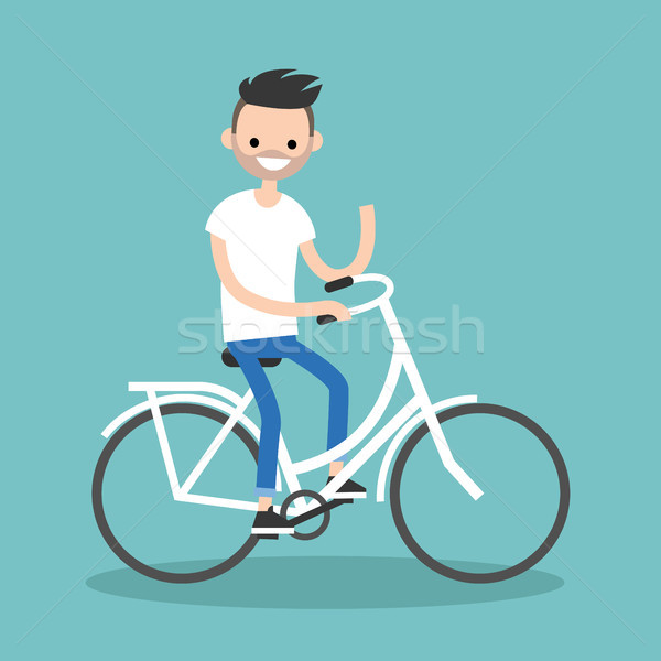 Young bearded guy riding a bike and waving his hand / editable f Stock photo © nadia_snopek