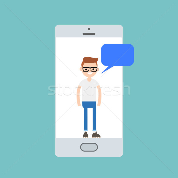 Stockfoto: Jongen · praten · smart · telefoons · scherm