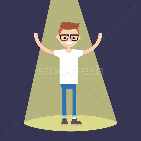 Young successful nerd standing in the spotlight / flat editable  Stock photo © nadia_snopek