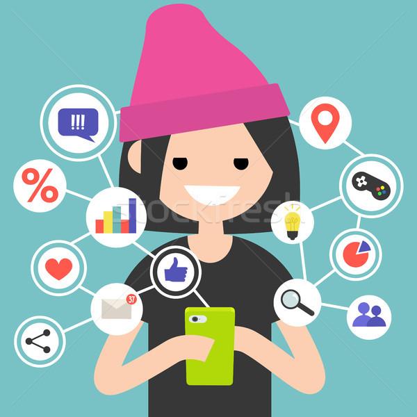 On-line conteúdo móvel dispositivo clip-art Foto stock © nadia_snopek