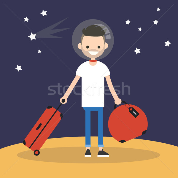 Mars Colonization: Young character moving to mars with his lugga Stock photo © nadia_snopek