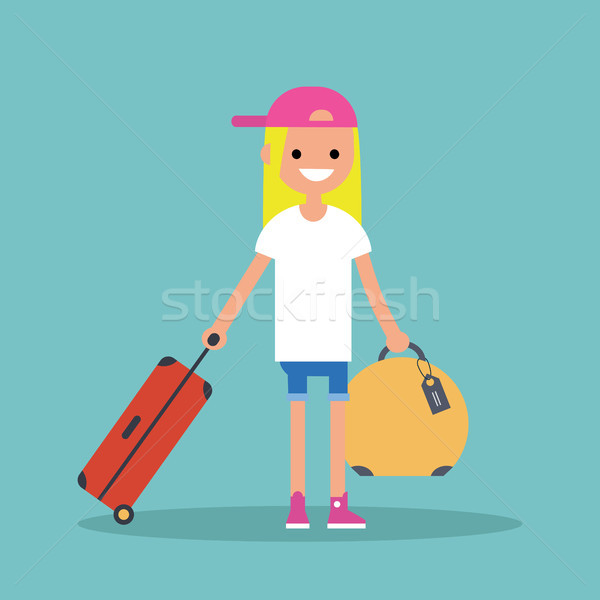 Young teenage girl travelling with her luggage / flat editable v Stock photo © nadia_snopek