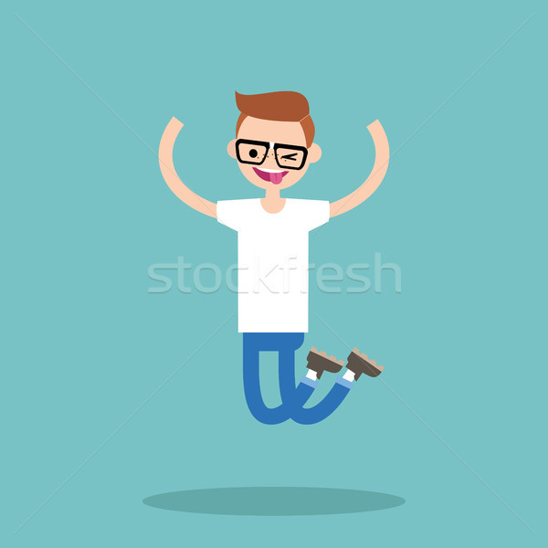 Young winking jumping nerd boy / flat editable vector illustrati Stock photo © nadia_snopek