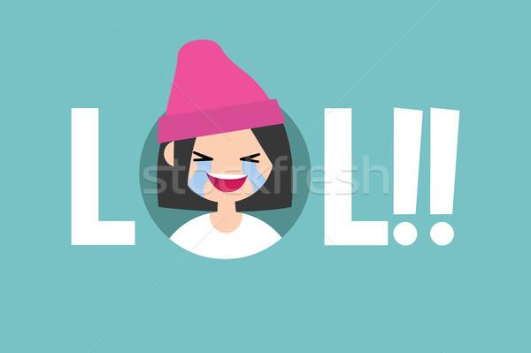 笑 図示した にログイン 笑い 外に 騒々しい ストックフォト © nadia_snopek