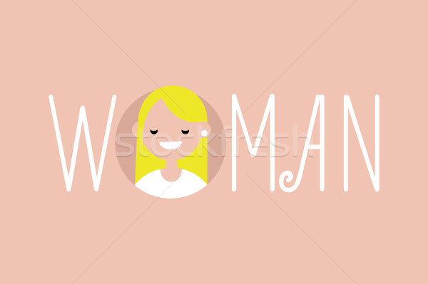Feminine illustrated sign 'Woman' / flat vector illustration Stock photo © nadia_snopek