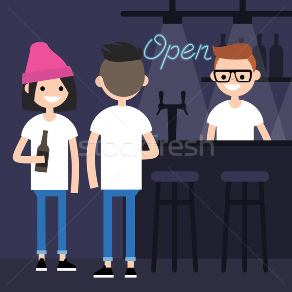 Young characters drinking beer in a bar / flat editable vector i Stock photo © nadia_snopek