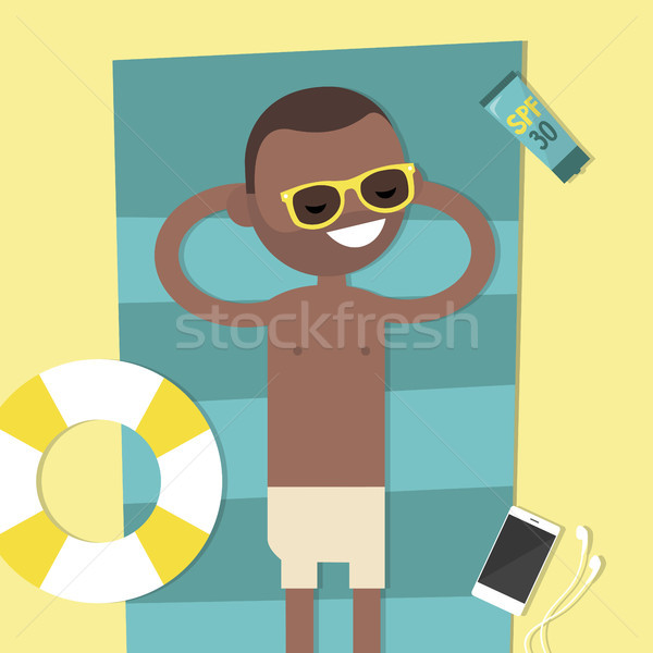 Young black character lying on the beach. Top view / flat editab Stock photo © nadia_snopek