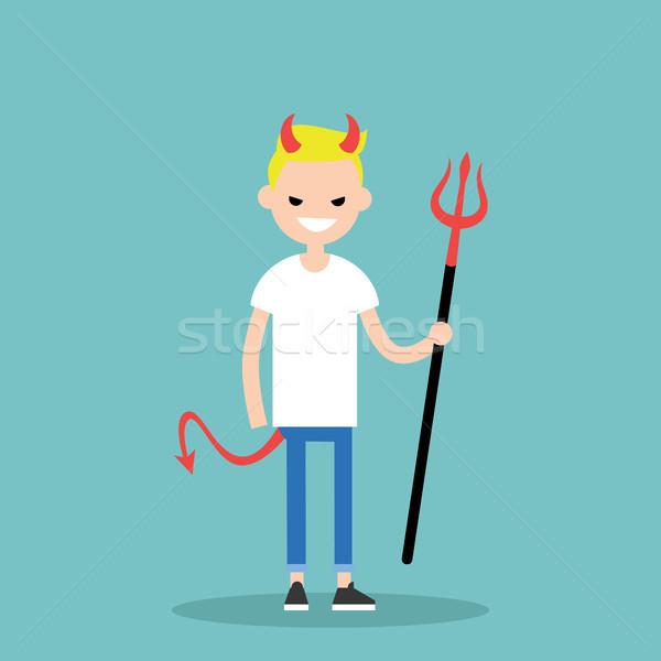 Młodych charakter diabeł elementy Zdjęcia stock © nadia_snopek