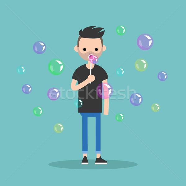 Young character blowing soap bubbles / flat editable vector illu Stock photo © nadia_snopek