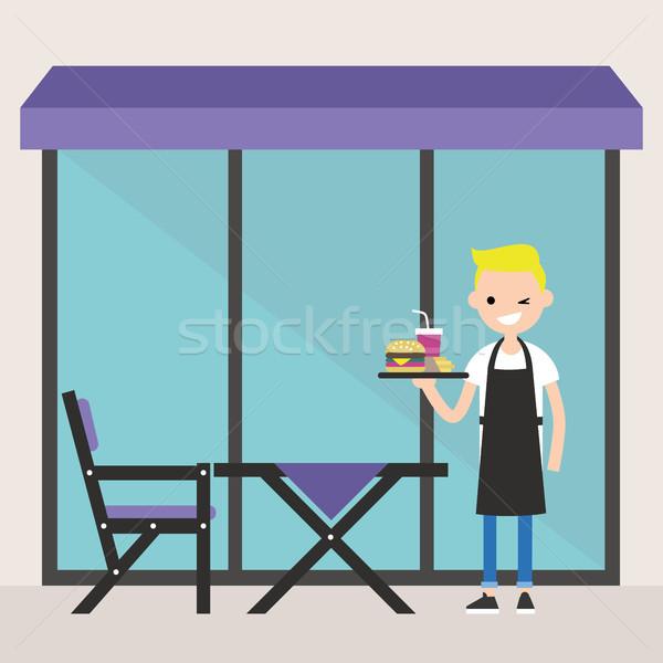 Jóvenes camarero pie restaurante terraza Foto stock © nadia_snopek
