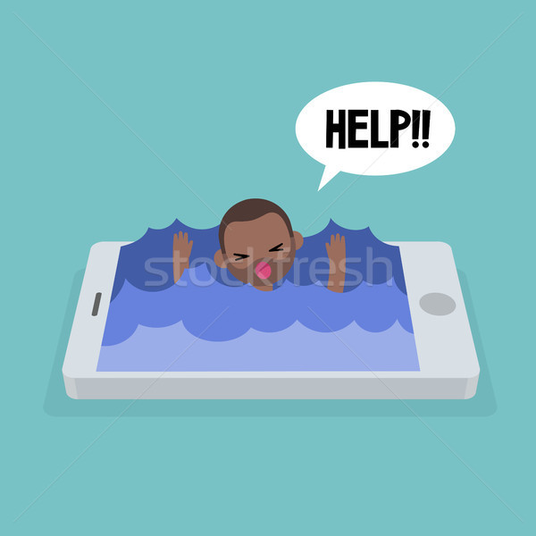 Mobile addiction concept. young black man drowning in the water  Stock photo © nadia_snopek