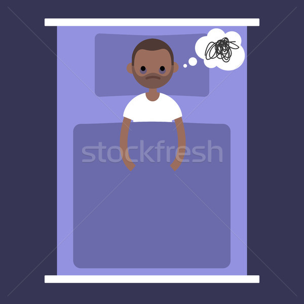 Insomnia conceptual illustration. young black man lying in the b Stock photo © nadia_snopek